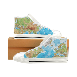 World Map High Top Canvas Shoes