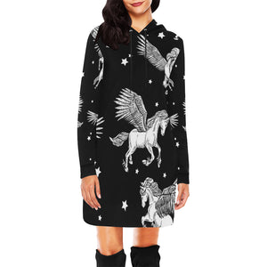 Unicorn 1 All Over Print Hoodie Mini Dress All Over Print Hoodie Mini Dress (H27)