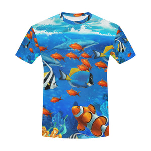 Blue Ocean Tropical Fish Coral Undersea World All Over Print T-Shirt for Men All Over Print T-Shirt for Men (T40)