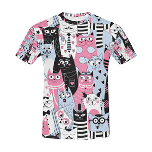 Retro Funny Cats All Over Print T-Shirt for Men All Over Print T-Shirt for Men (T40)