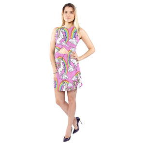 Unicorn with rainbow and clouds Sleeveless Cutout Waist Knotted Dress Sleeveless Cutout Waist Knotted Dress (D39)