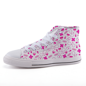 Pink Nurse High-top fashion canvas shoes