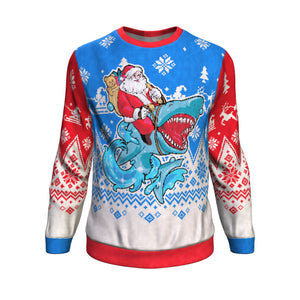Santa Riding Shark Sweatshirt Sweatshirt