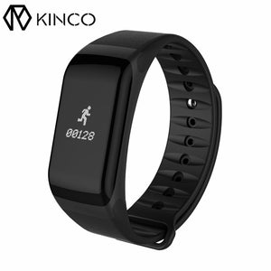 KINCO Black Bluetooth Waterproof Heart Rate Blood Oxygen Pressure Monitor Pedometer Bracelet Smart Wristband for IOS/Android