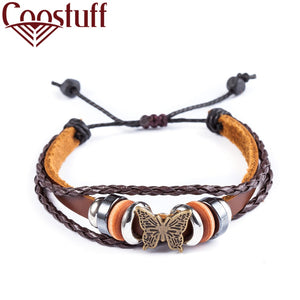 2018 leather bracelets for women Men Jewelry Butterfly pulseira masculina pulseira feminina erkek bileklik Punk bracelet femme