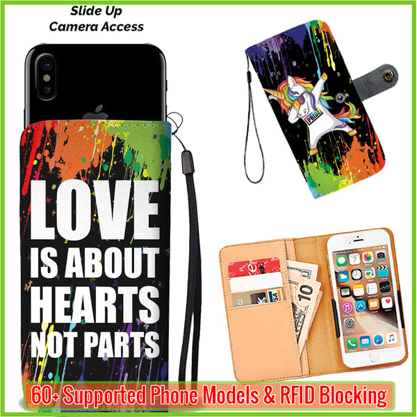 dabbing unicorn love is about hearts not parts wallet phone case wallet case environmentally. Black Bedroom Furniture Sets. Home Design Ideas