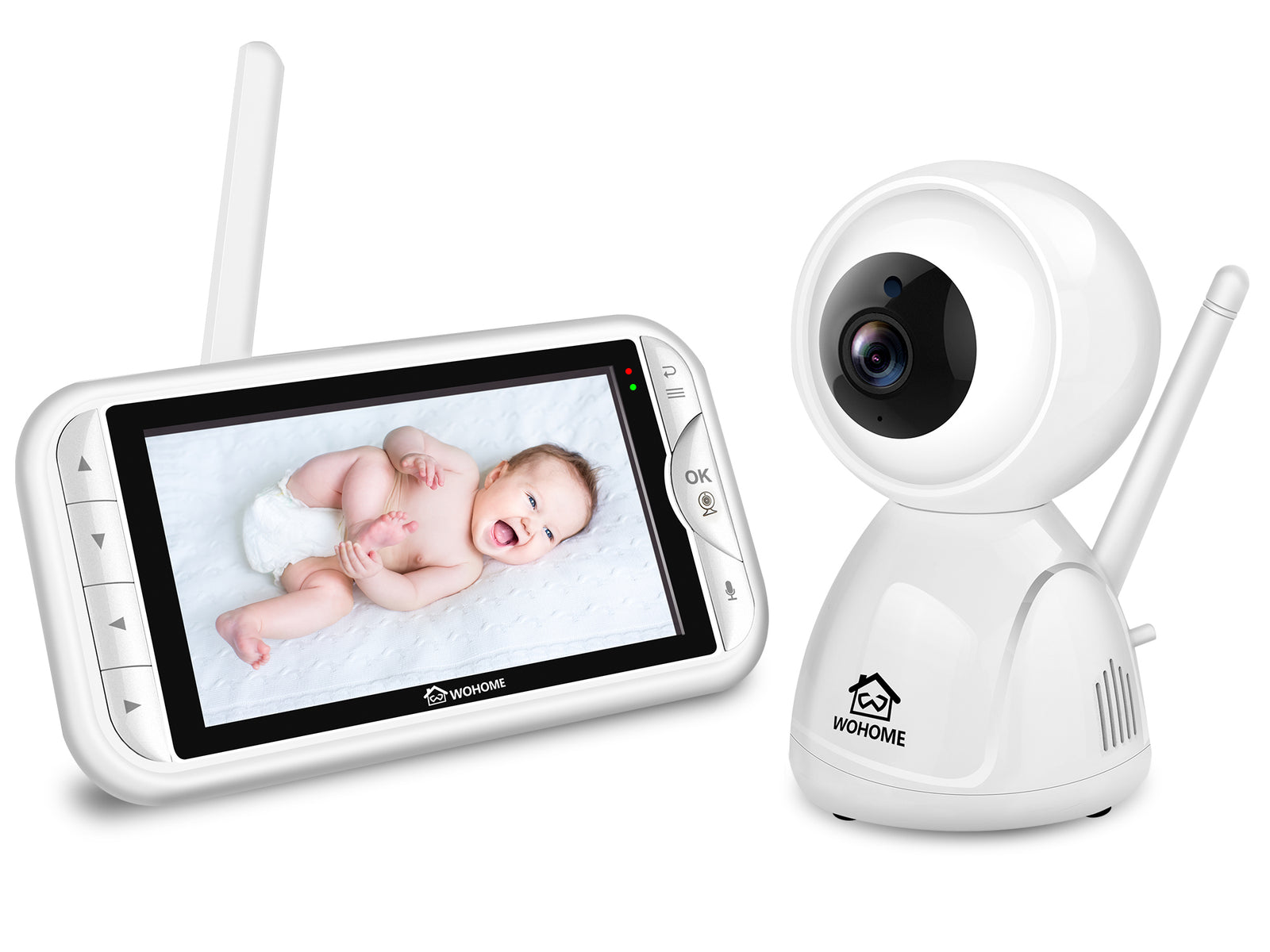 "Wohome LY-129 Video Baby Monitor with Camera and Audio,Remote Pan,Tilt,One-click Zoom,720 HD 5""Display,2-Way Talk,900ft Range,Tem/sound alert,Night Vision,Thermal Monitor and Wall Mount kit"
