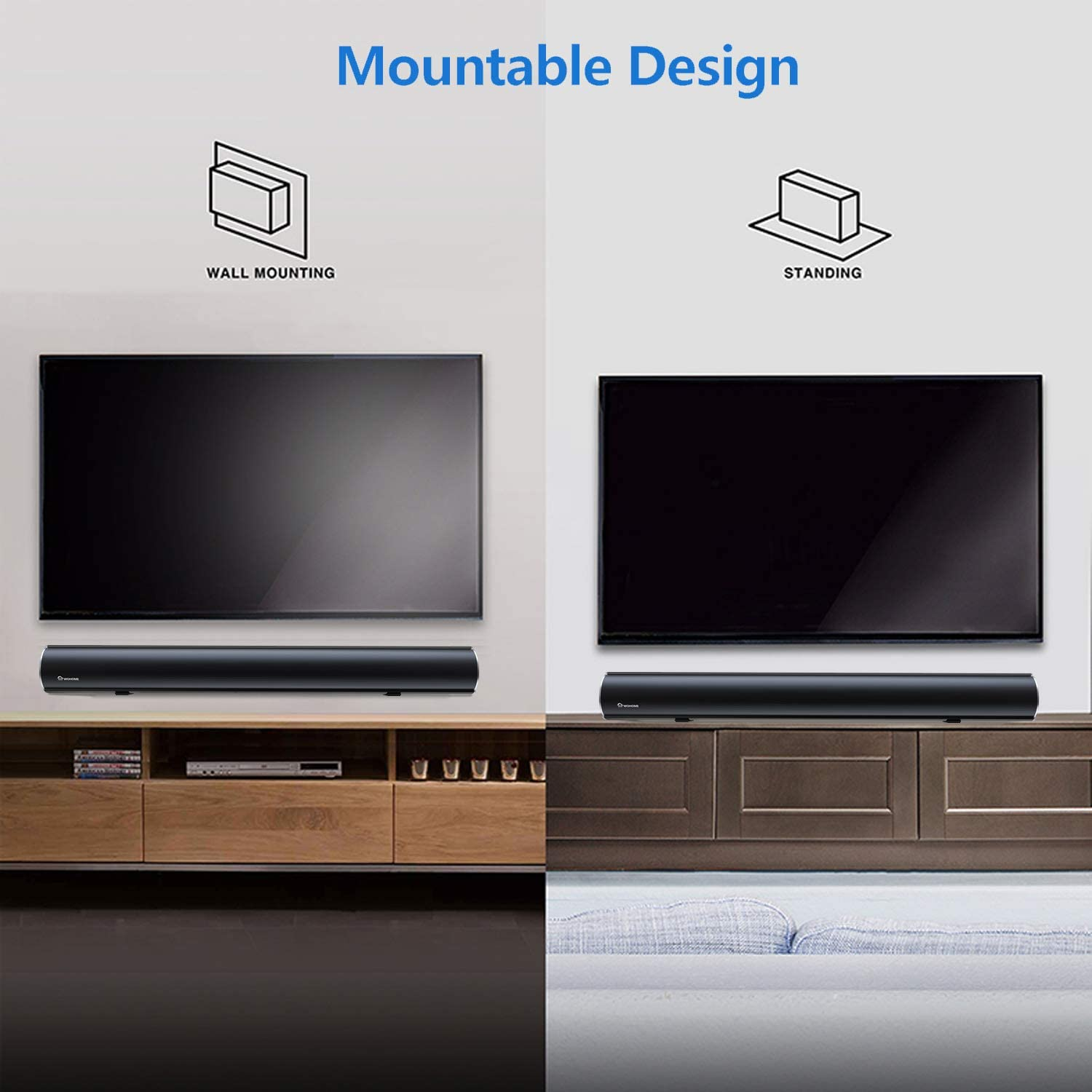 Soundbar, Wohome TV Sound Bar with Built-in Subwoofer and Bluetooth (38-Inch, 80W, 6 Drivers, 105dB, Deep Bass, Remote Control, Wall Mountable,4 Equalizer Modes, Deep Bass, Model S28)