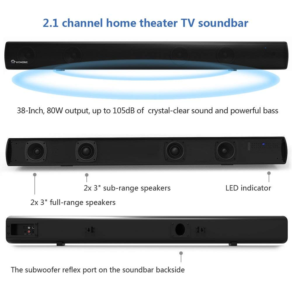 Wohome S11 2.1 Channel Sound Bar with Built-in Subwoofer