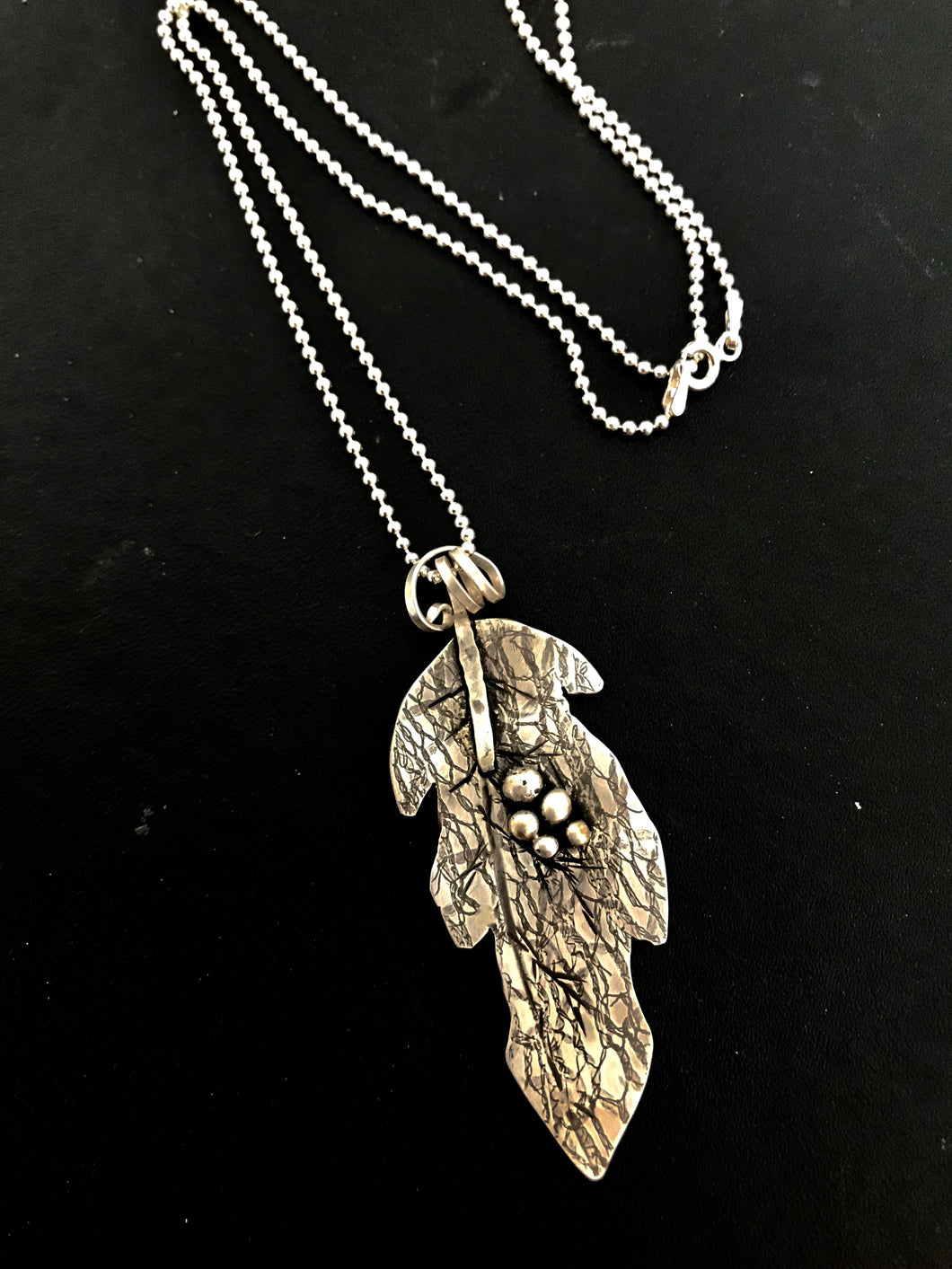 Sterling Silver Necklace Leaf with Grapes