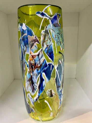 Tall Clear Large Lime Sapphire Glass Vase