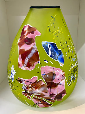 Large Lime Pink Shard Glass Vase
