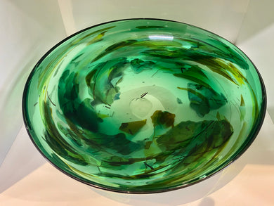 Large Pawa Green Glass Bowl