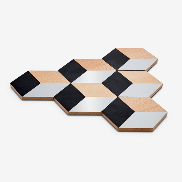 Areaware Table Tiles - Black/Beige