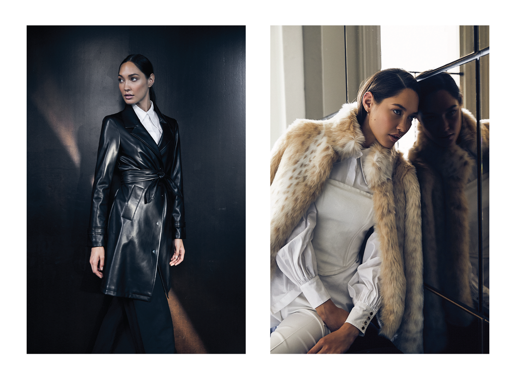 Faux fur and vegan leather jackets