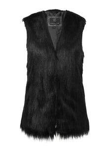 Fur Play Vest in Black