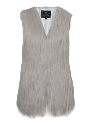 Fur Play Vest in Grey