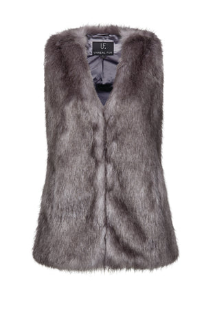 Fur Play Vest in Silver Moon