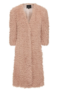 De Fur Coat in Dusty Pink