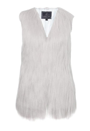 Fur Play Vest in Cloud Smoke