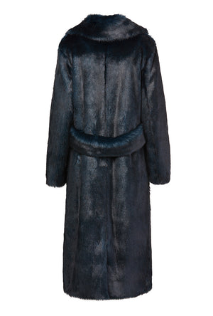Long Mac Coat in Deep Teal