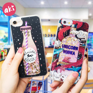 Glitter Liquid Quicksand Bling Unicorn Water Sequins Paris for iPhone 6 6s 7 8 Plus X