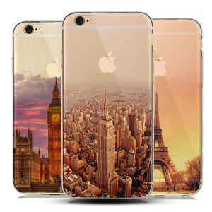 Soft Natural Lndscape TPU Case Cover for iPhone/Scenery Effiel Tower Paris London City