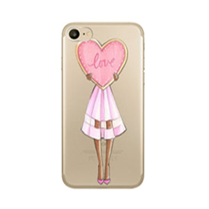 Fashion Beauty Girl Drink Coffee Hand Bag Design Protective Case For iPhone