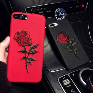 Art Embroidery Rose Flower Phone Case For Apple iPhone 6/6s
