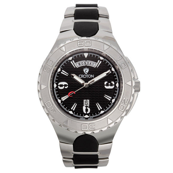 Croton Mens Stainless Steel Black Super C Watch