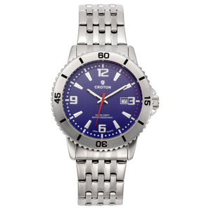 Croton Mens Stainless Steel Blue Rotating Bezel Watch