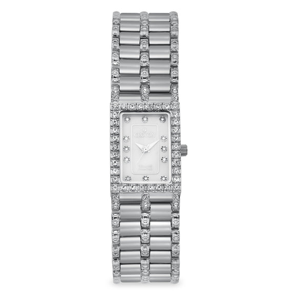 Croton Womens Stainless Steel Silvertone Mother of Pearl Watch