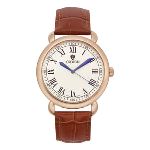 Croton Mens Stainless steel Rosetone Leather Strap Watch