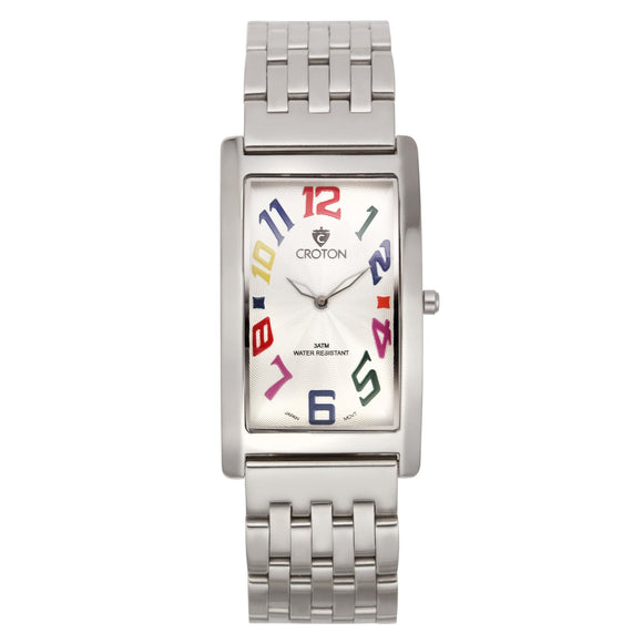 Croton Mens Stainless steel Silvertone Rectangular Watch