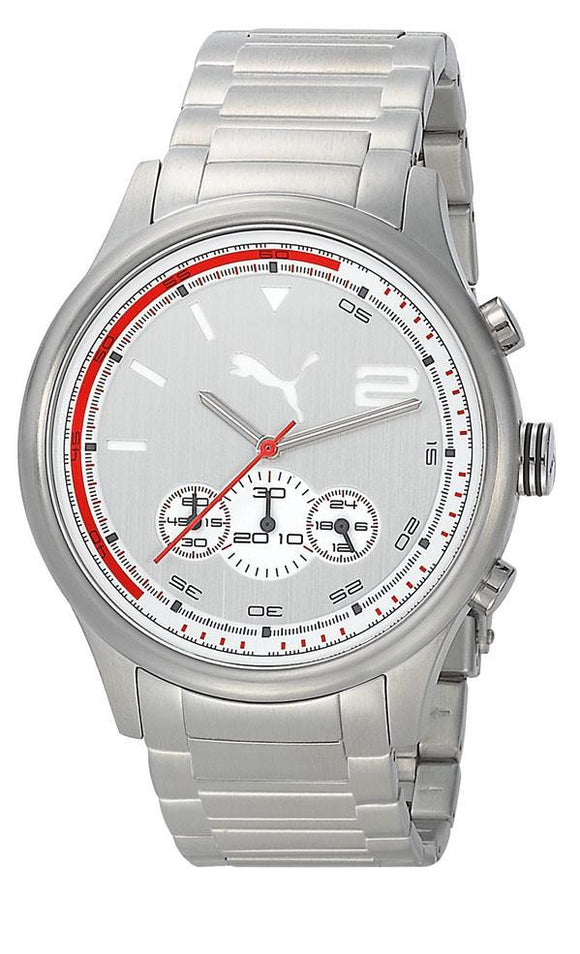 PUMA Men's PU102741004 Wheel Chrono Analog Display Quartz Silver Watch