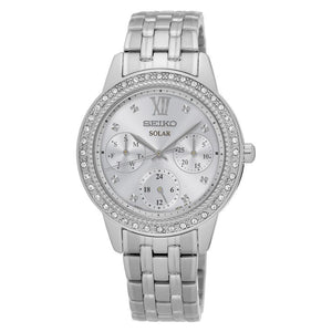 Seiko Womens Recraft Solar Silver Tone with Swarovski Crystals