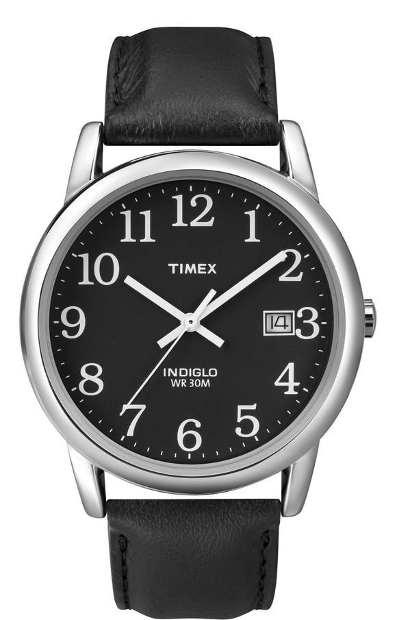 Timex Mens Easy Reader Black Leather Strap Watch