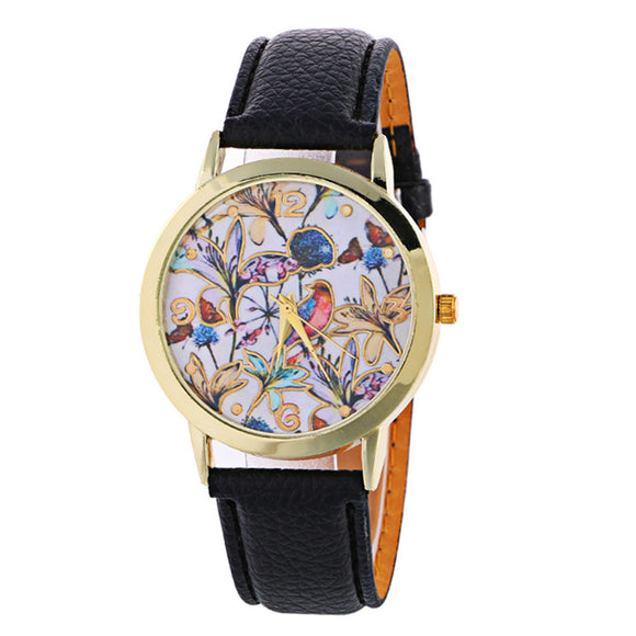 Creative Pattern Quartz Watch Leather Straplt Table Watch