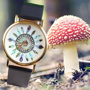 Fashion Casual Quartz Watch Peacock Feathers Pattern Watch