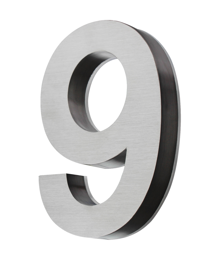 Stainless House number 8 Inch - Blue LED