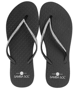 SAMBA SOL - BLACK DOUBLE STRAP FLIP FLOP WITH CRYSTALS