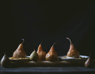 Spiced maple water poached pears + maple granola
