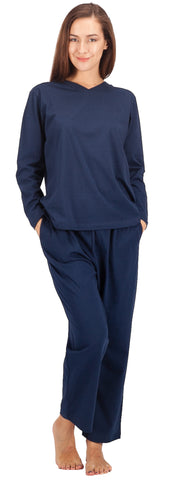 WEWINK CUKOO Womens Pajama Sets Cotton Sleepwear Long Sleeve PJ Set