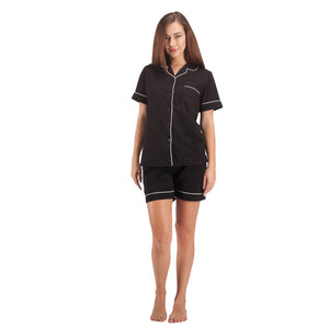 Women's Cotton Pajama Set Short Sleeve Sleepwear Comfort Black PJ Set