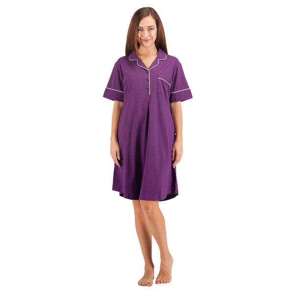 WEWINK CUKOO Womens Sleepwear Cotton Nightshirt Short Sleeve Boyfriend Sleep Dress Shirt
