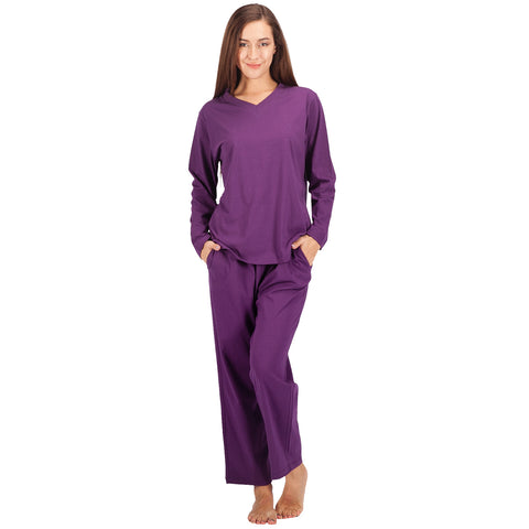 0539c96b3847 Women s 100% Cotton Pajama Set Long Sleeve Purple Pj Set – WEWINK CUKOO