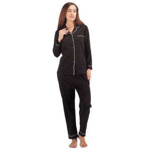 Women's 100% Cotton Pajama Set Long Sleeve Sleepwear Black