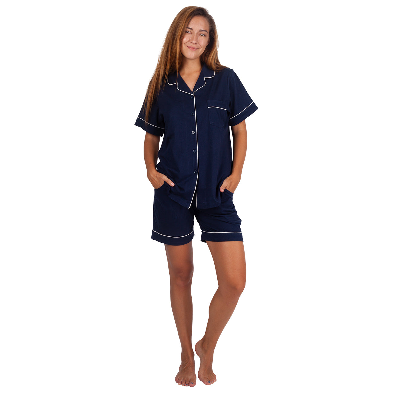 Women's Cotton Pajama Set Short Sleeve Sleepwear Comfort Blue PJ Set