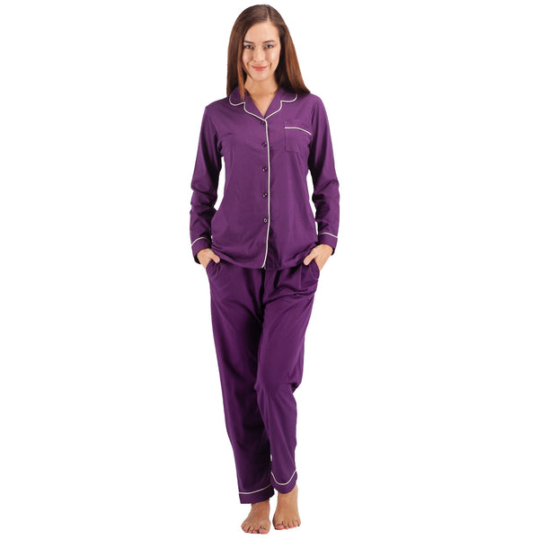 Women's 100% Cotton Pajama Set Long Sleeve Purple Pj Set