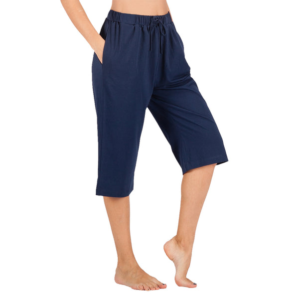 WEWINK CUKOO Women's Active Yoga Lounge Capri Pants with Pockets